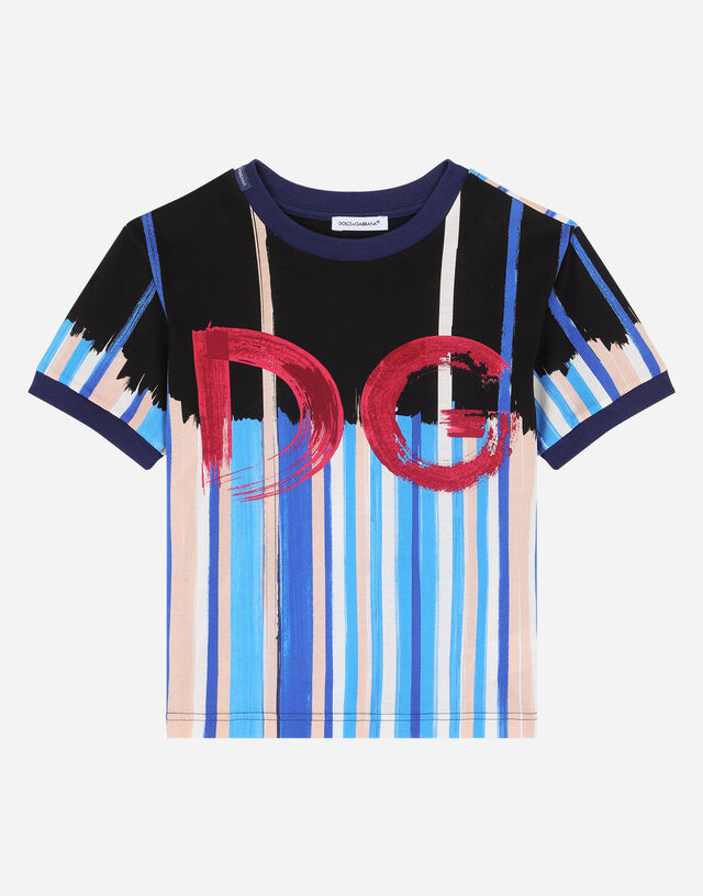 Jersey t-shirt with painted DG print in Multicolor