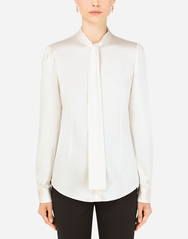 Satin shirt with pearl buttons with DG logo in White