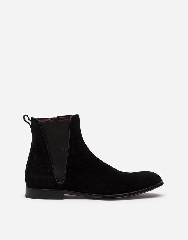 Velvet calfskin chelsea boots in BLACK