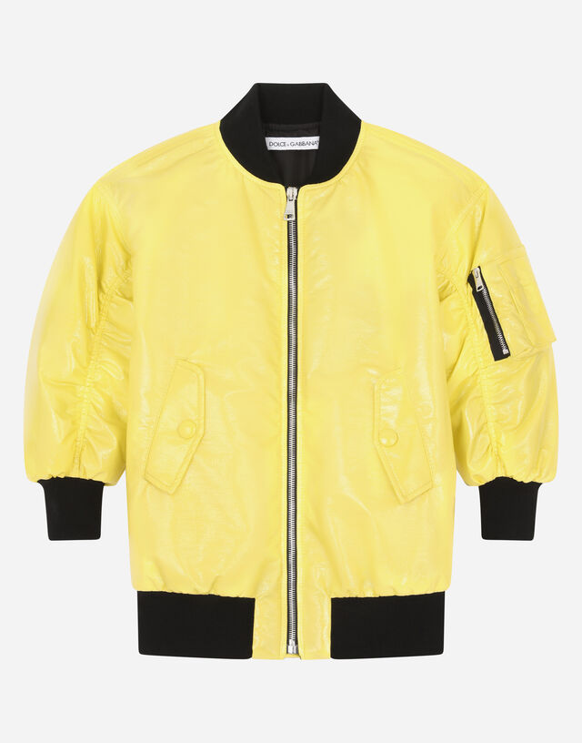 Patent leather jacket in Yellow