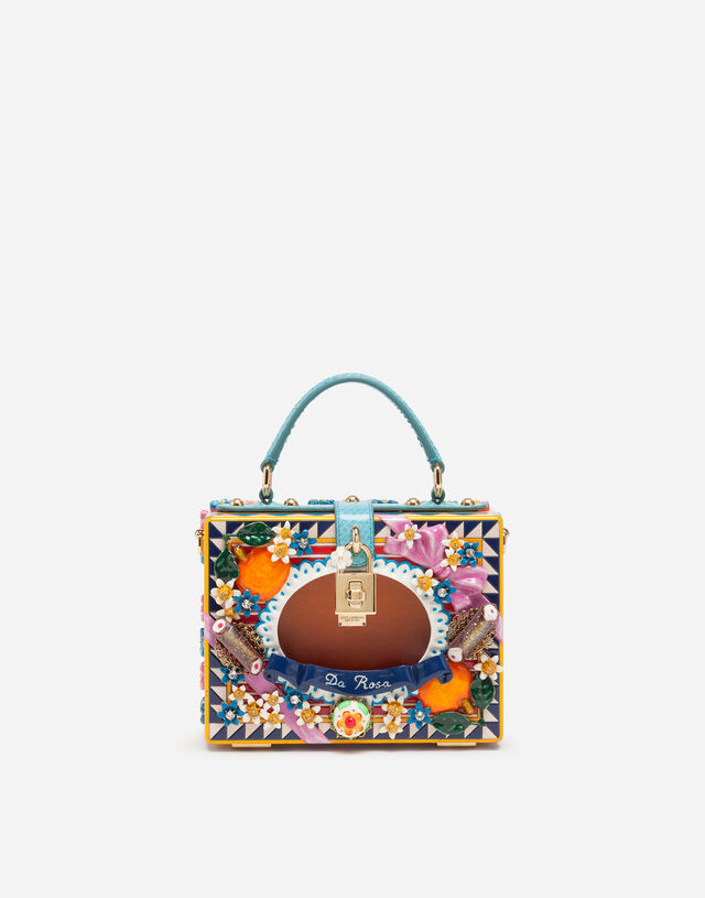 Dolce Box bag in hand-painted wood  in MULTICOLOR