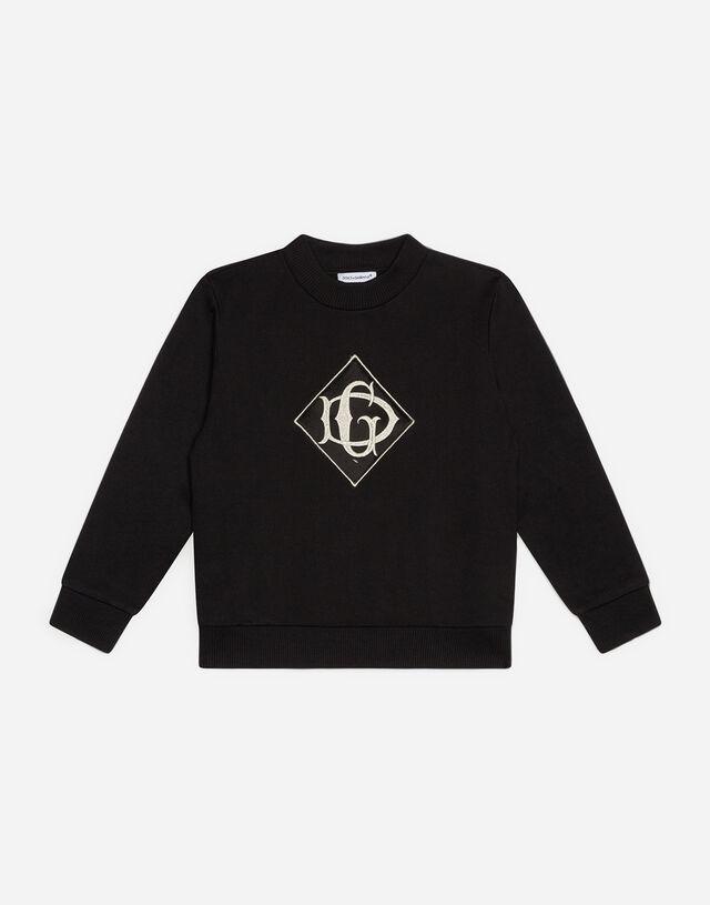 Jersey sweatshirt with satin DG detail in Black