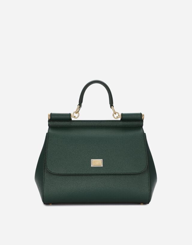 Medium Sicily handbag in dauphine leather in GREEN