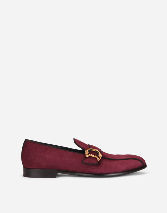 Suede loafers with baroque DG logo in BORDEAUX