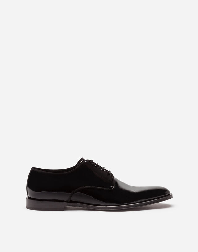 Glossy patent leather derby shoes in BLACK
