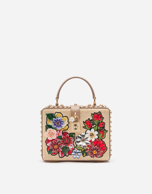 Dolce Box bag in braided raffia with thread embroidery in BEIGE