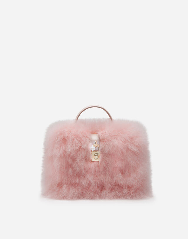 Satin Dolce Box bag covered in marabou in PINK