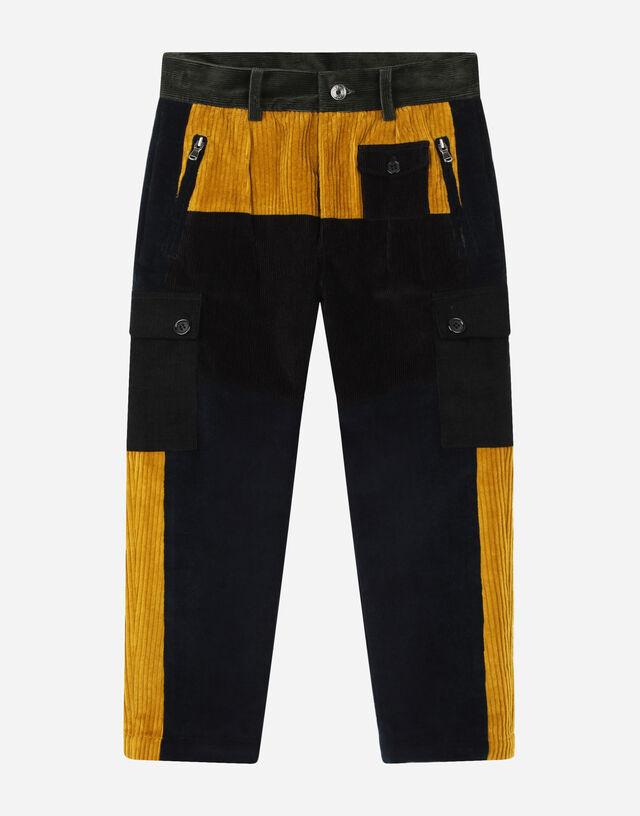 Corduroy patchwork cargo pants in Multicolor