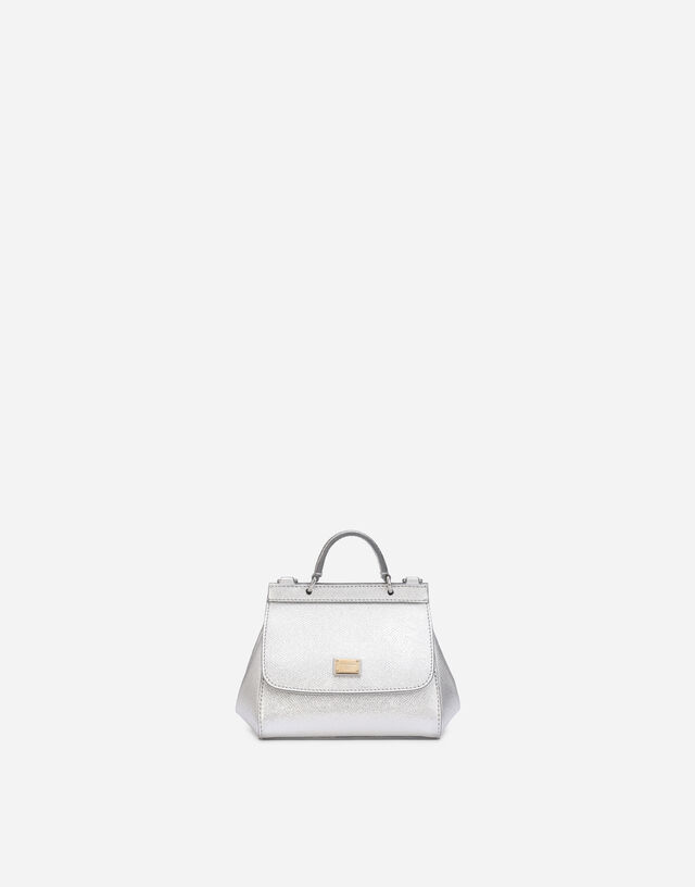 Sicily mini bag in Dauphine leather in Silver
