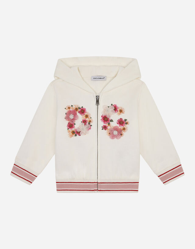 Jersey hoodie with floral print in Multicolor