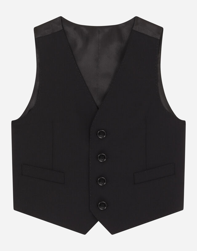 Single-breasted stretch woolen vest in Black