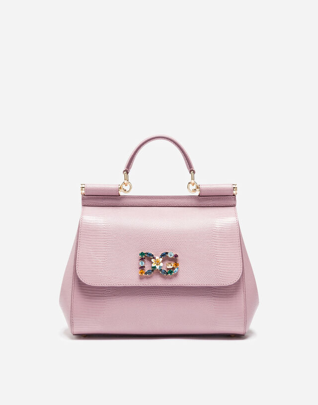 Medium calfskin Sicily bag with iguana print and DG crystal logo patch in PINK