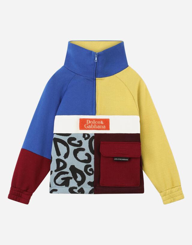 Jersey sweatshirt with color-block patch in Multicolor