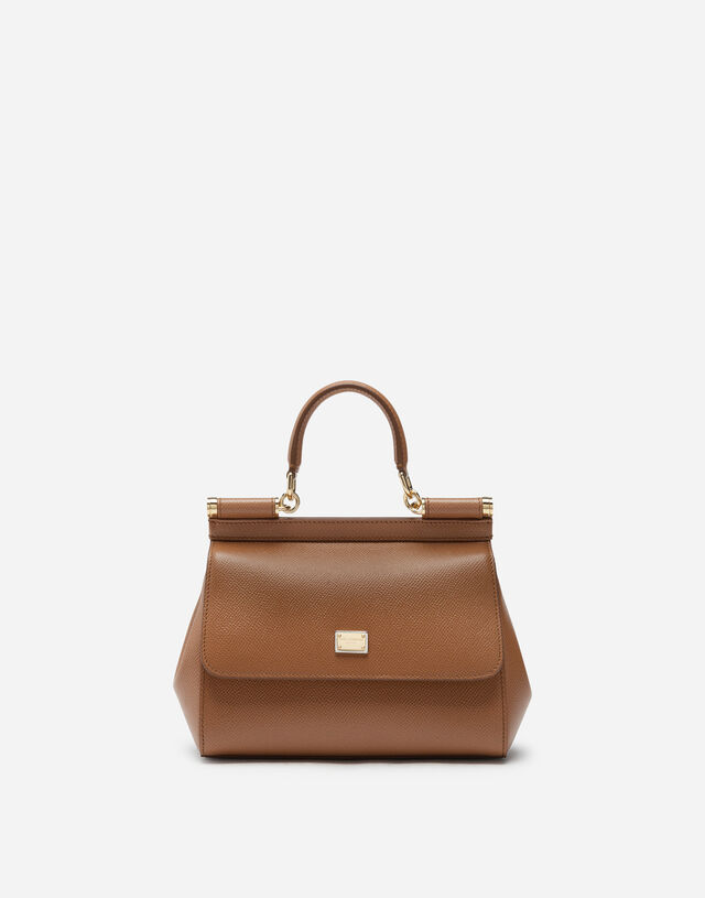 Small Sicily bag in dauphine calfskin in BROWN
