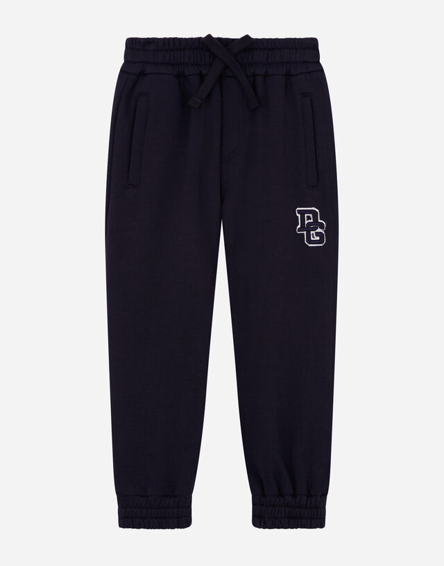 Jersey jogging pants with DG logo patch in Blue
