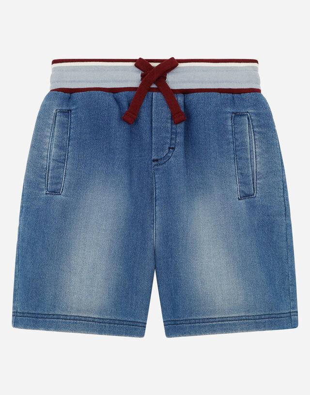 Jersey denim jogging shorts in Multicolor