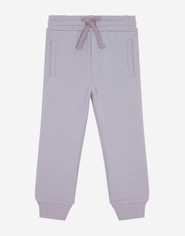 Jersey jogging pants with logo tag in Wisteria