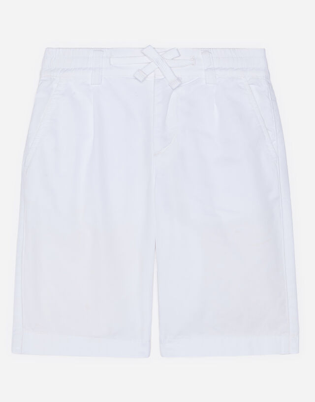 Poplin bermuda shorts with embroidered logo in White