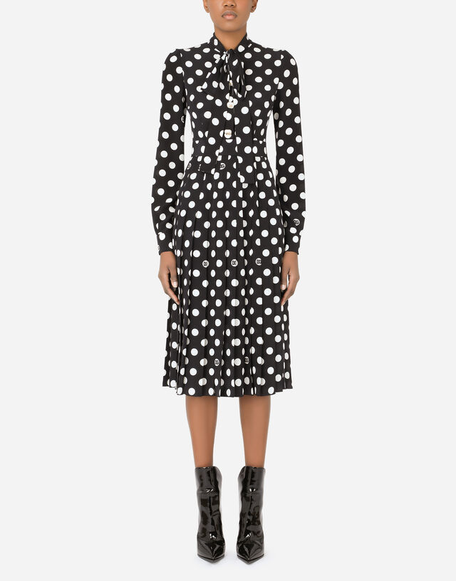 Crepe de chine midi dress with polka-dot print with pleated skirt and pearl DG embellishment in Multicolor