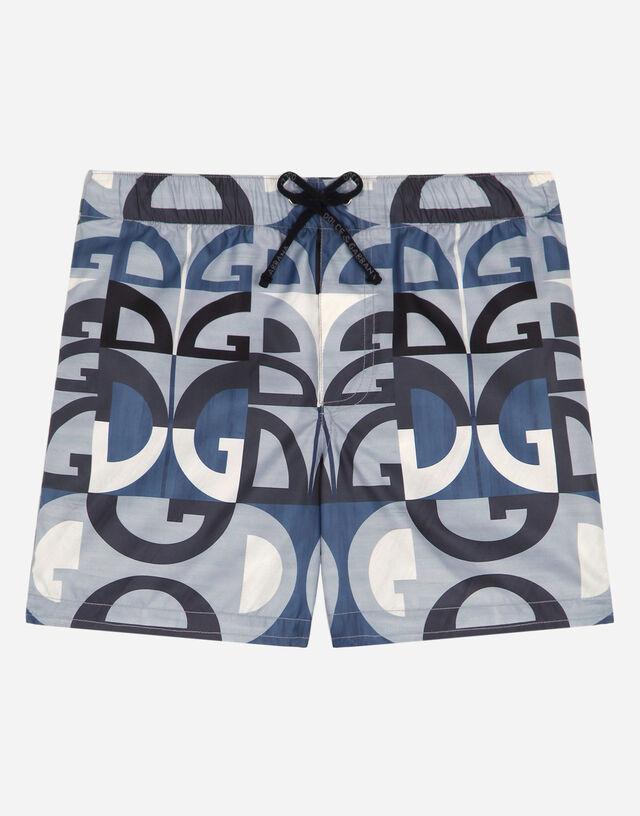 Nylon swim shorts with geometric DG print in Multicolor