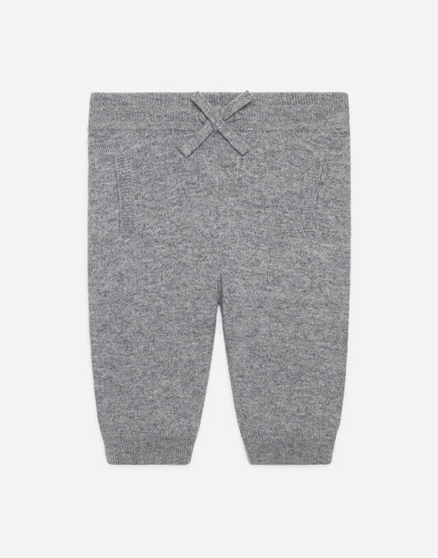 Cashmere jogging pants with heritage embroidery in Grey