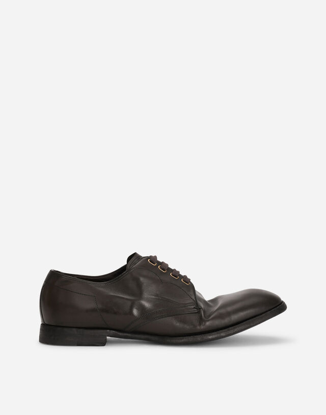 Vintage-finish calfskin derby shoes in GREEN