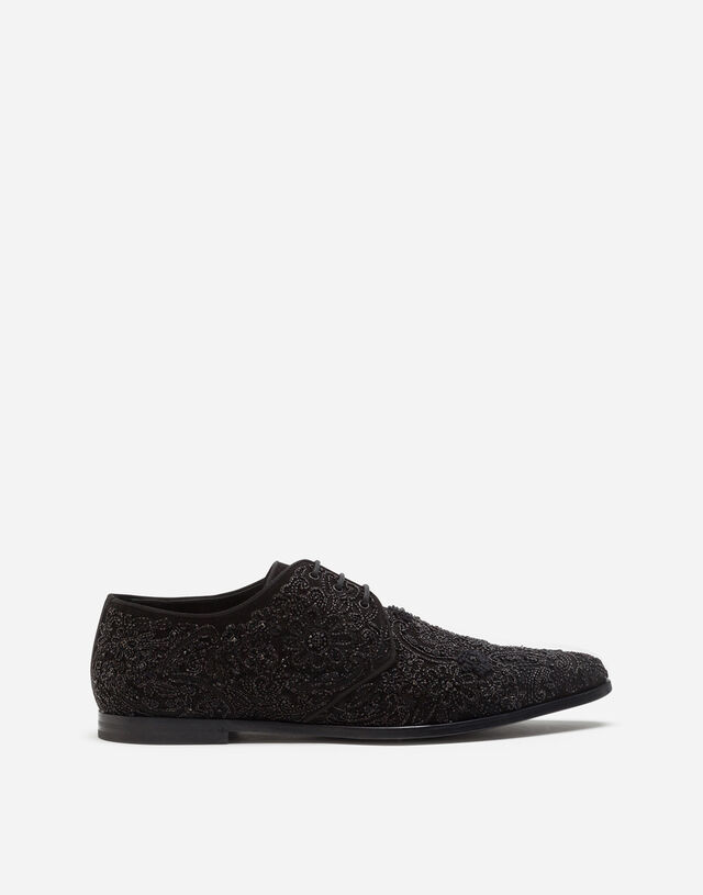 Suede derby shoes with all-over embroidery in BLACK