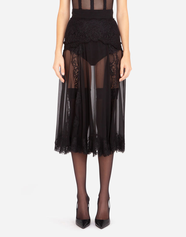 Longuette skirt in chiffon and chantilly lace in BLACK