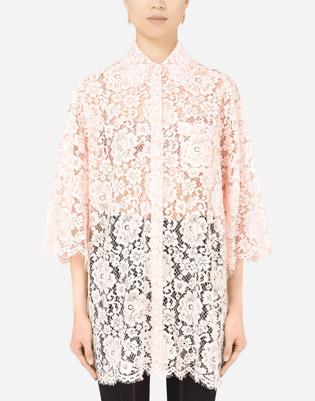 Long lace shirt in PINK