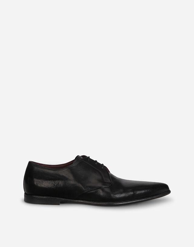 Vintage-effect calfskin derby shoes in BLACK