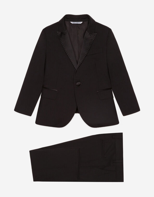 Single-breasted suit in stretch wool canvas in Black