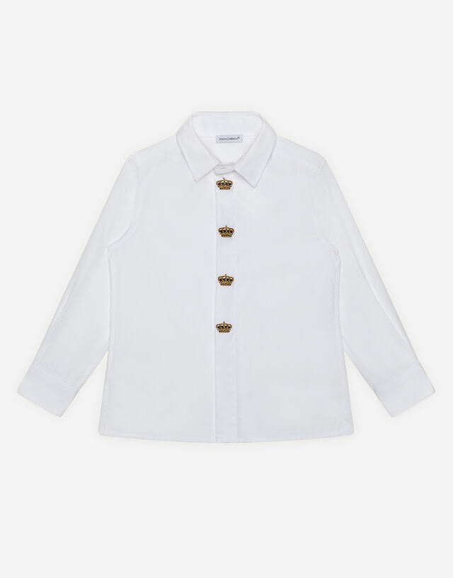 Poplin shirt with crown embroidery in White