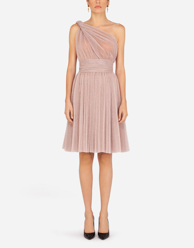 One-shoulder midi dress in pleated lamé tulle  in LILAC
