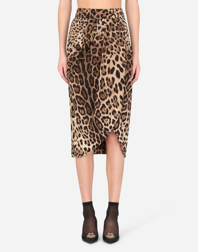 Leopard-print charmeuse tulip midi skirt in ANIMAL PRINT