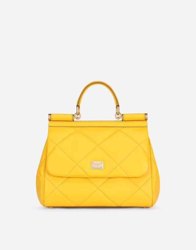 Medium Sicily bag in aria matelassé calfskin in Yellow