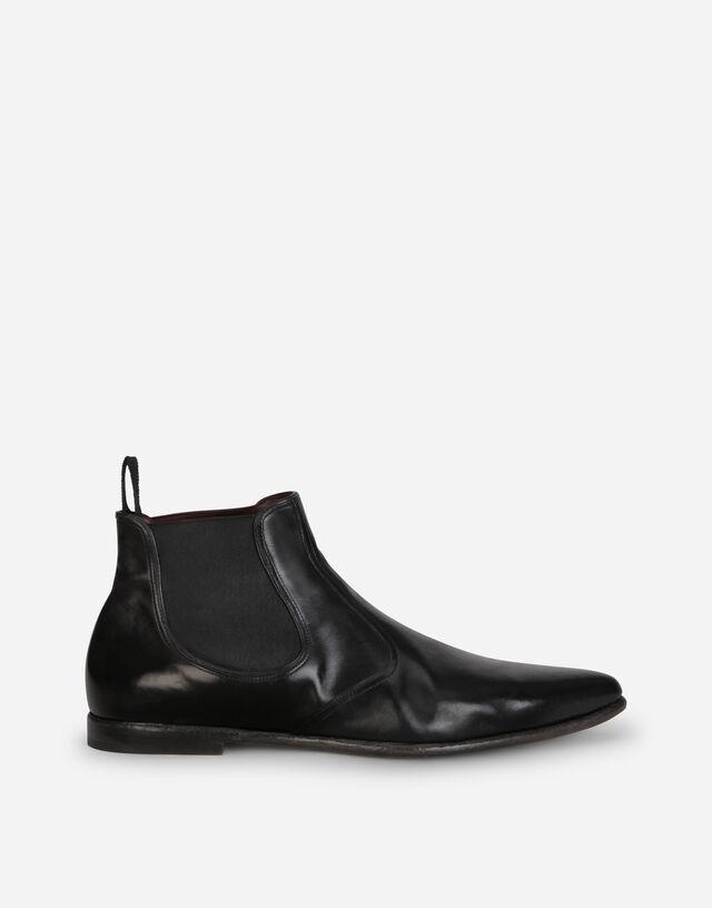 Vintage-effect calfskin chelsea boots in BLACK
