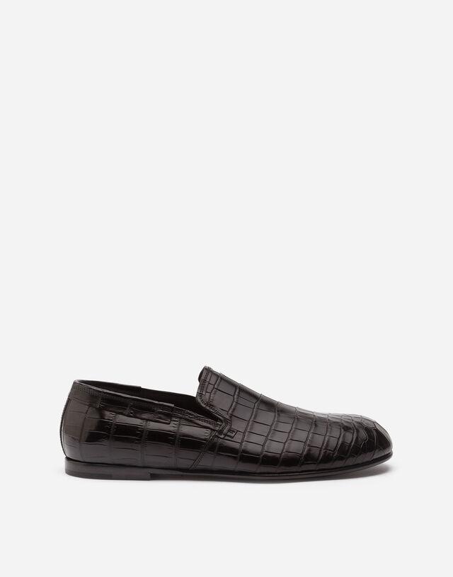 Crocodile nappa slip-on shoes in BLACK