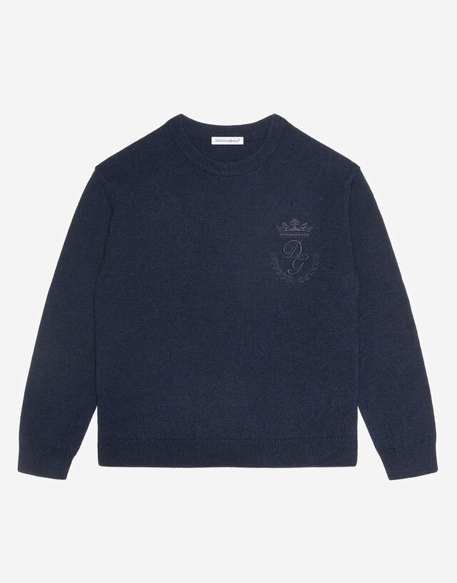 Crew neck cashmere sweater with heritage embroidery in Blue
