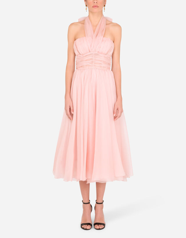Organza calf-length dress with halter neck in PINK