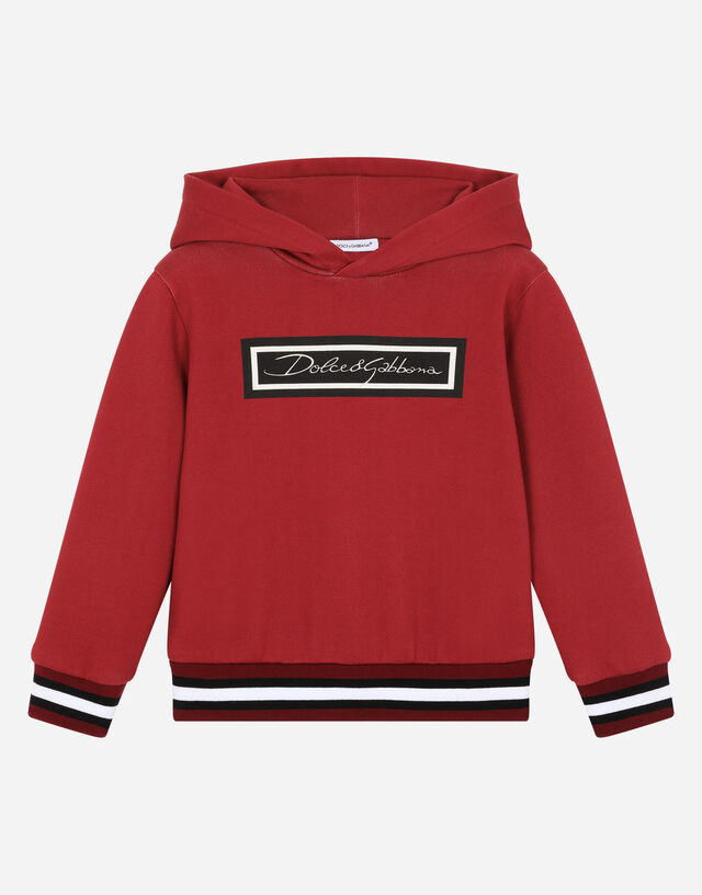 Jersey hoodie with logo print in Red