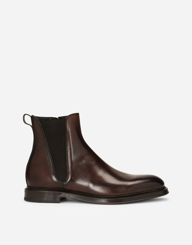 Hand-painted calfskin Chelsea boots in Brown