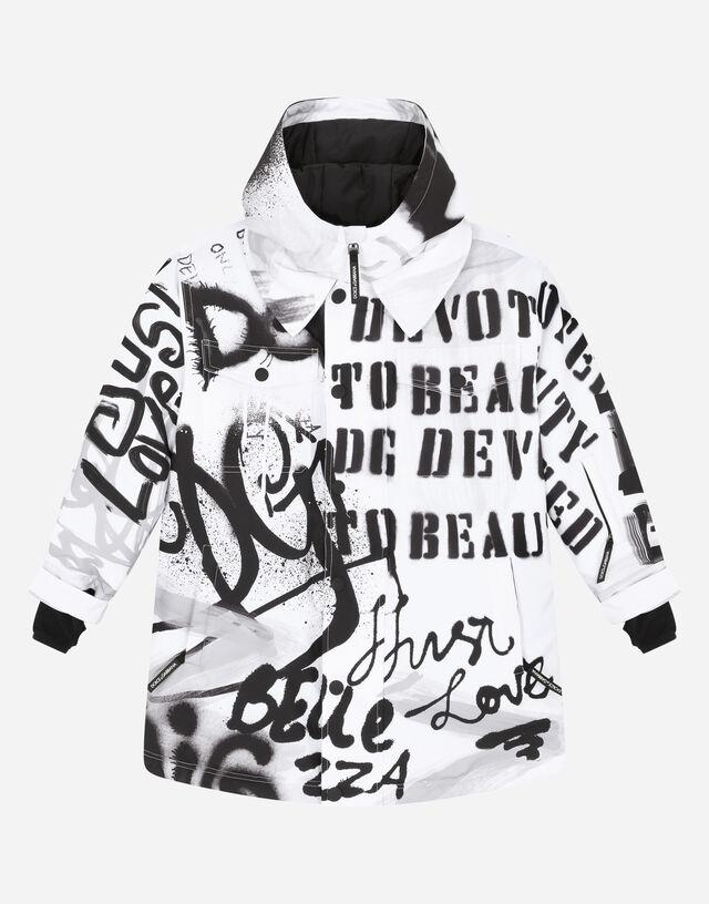 Nylon ski jacket with graffiti print in Multicolor