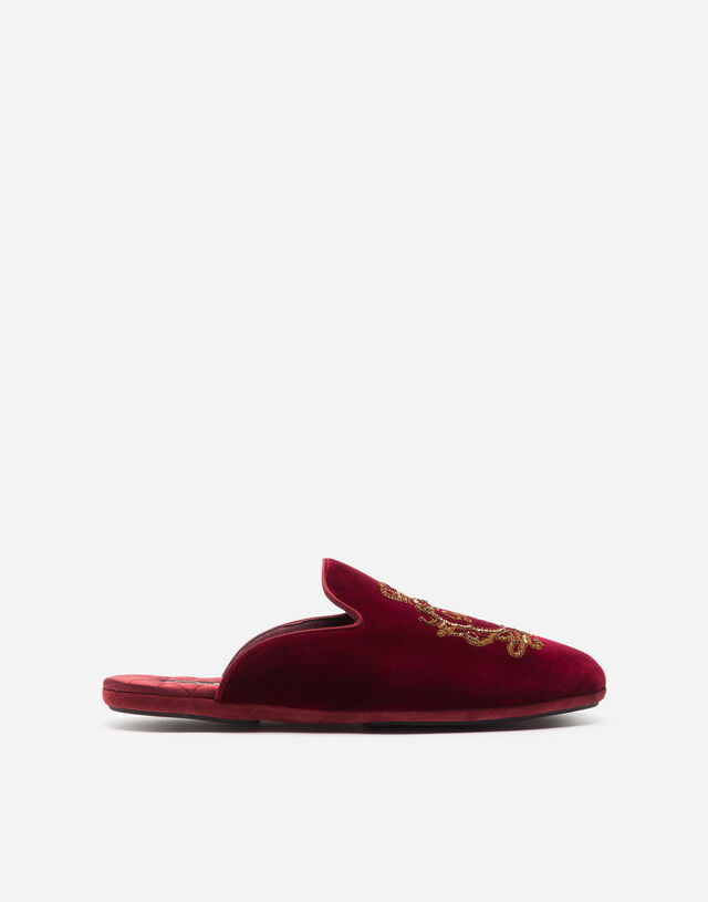 Velvet slippers with embroidery in BURGUNDY