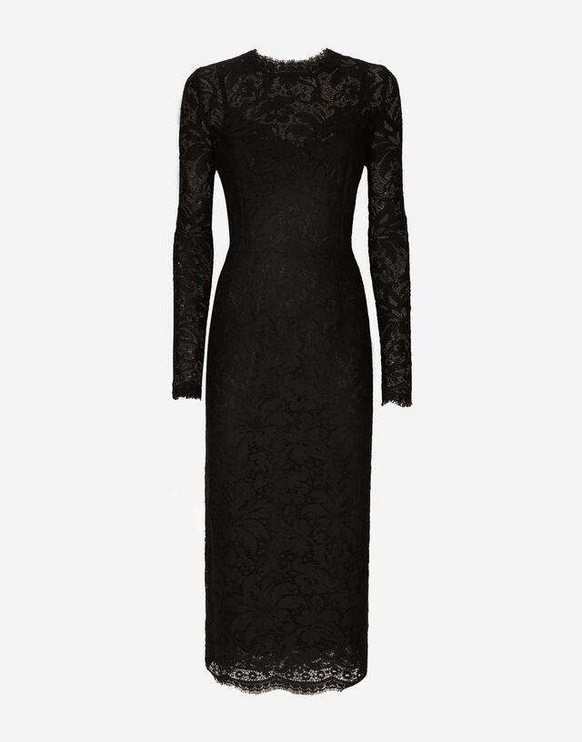 Lace midi dress in BLACK