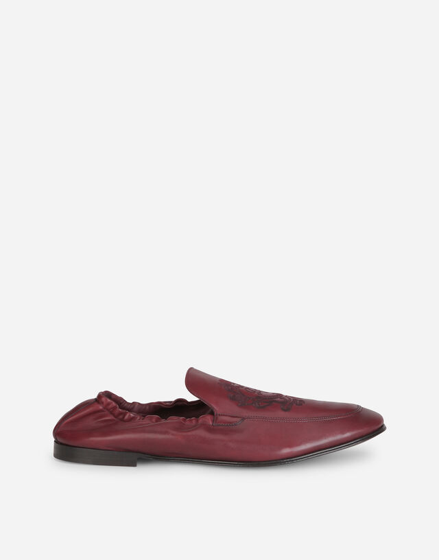 Calfskin loafers with DG coat of arms embroidery in BORDEAUX