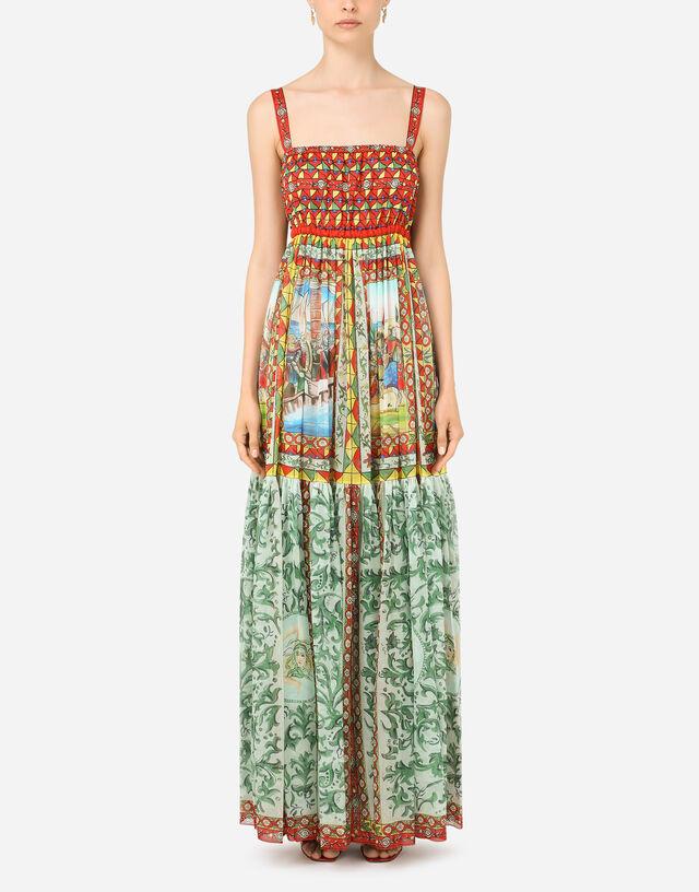 Long Carretto-print chiffon dress in Multicolor