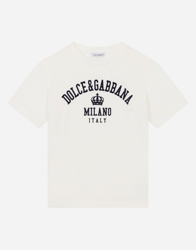 Jersey T-shirt with logo print in White