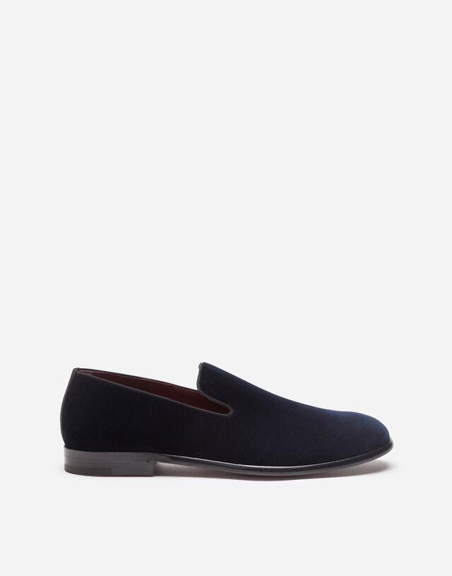 Velvet slippers in BLUE