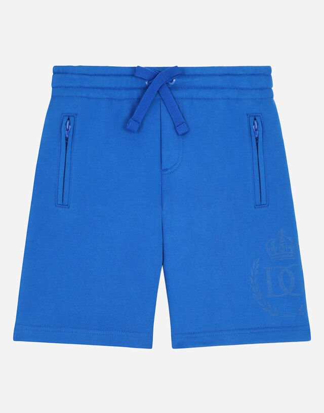 Jersey jogging shorts with DG laurel and crown print in Turquoise