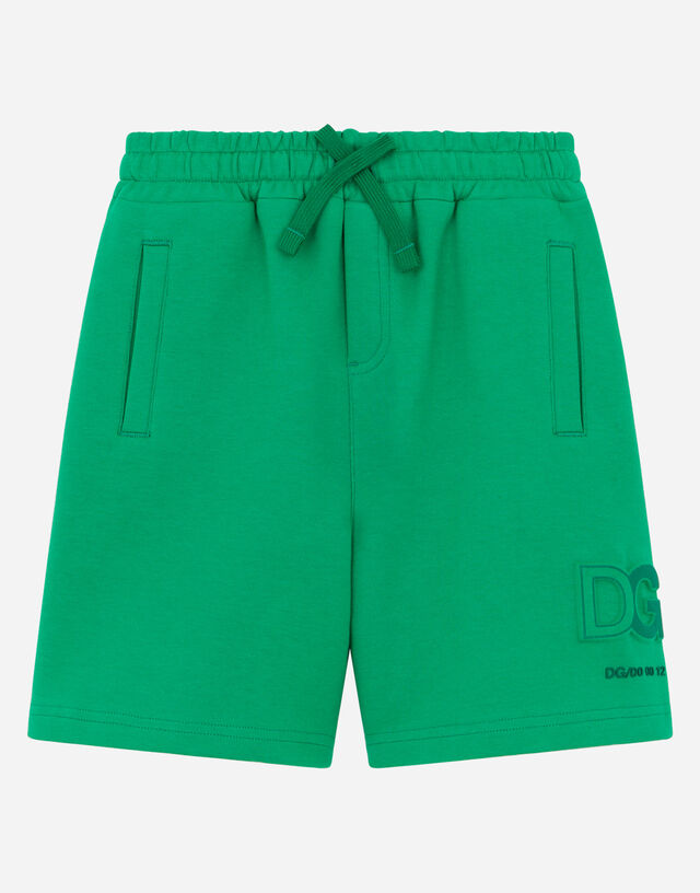 Jersey jogging shorts with embossed DG logo in Green